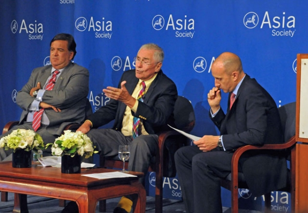 L to R: Bill Richardson, Donald Gregg, and Jon Williams at Asia Society New York on July 11, 2013. (Elsa Ruiz/Asia Society)