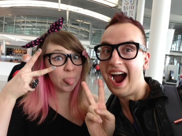 Seoul-based Canadian expats Martina and Simon Stawski, masterminds behind the popular Youtube channel Eat Your Kimchi, pose for a selfie.