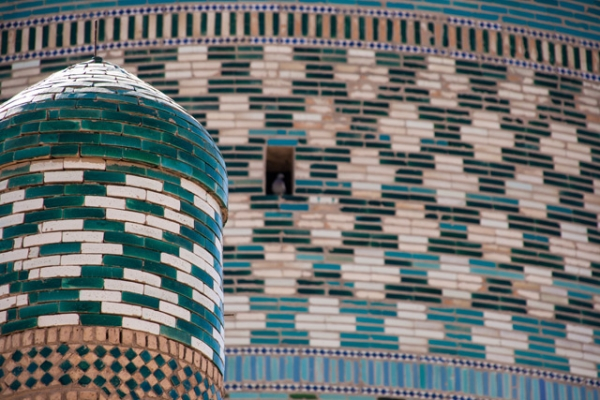 A painted teal pattern decorates a mosque in Karakalpakstan, Uzbekistan on June 29, 2013. (Christopher Rose/Flickr)