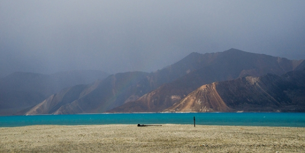 "A view of Pangong Tso, Tibetan for ""long, narrow, enchanted lake,"" also referred to as Pangong Lake, which stretches from India to Tibet, on August 13, 2013."