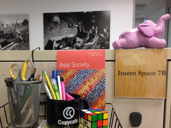 One of the many intern cubicles located around the Asia Society New York headquarters. (Tahiat Mahboob)