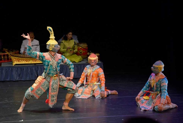 The dance segment of the evening featured a performance of the Khon Ramakien, based on the great Indian epic the Ramayana. (Elsa Ruiz/Asia Society)