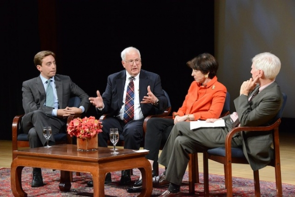 From left: New Yorker staff writer Evan Osnos, former U.S. Ambassador to China J. Stapleton Roy, and UC San Diego professor Dr. Susan Shirk discussed Xi Jinping's leadership at an Asia Society event moderated by Orville Schell (far right) on November 7, 2013. (Kenji Takigami/Asia Society)