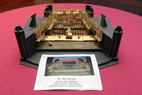 A model of the opera's set as envisioned for the Santa Fe Opera production. (Elsa Ruiz/Asia Society)