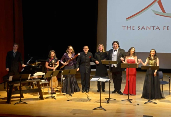 Three instrumentalists and four singers, shown here with Huang Ruo (C), presented musical excerpts from the work following the discussion. (Elsa Ruiz/Asia Society)