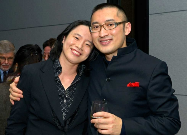 Conductor Carolyn Kuan and composer Huang Ruo at Asia Society New York on December 2, 2013. (Elsa Ruiz/Asia Society)