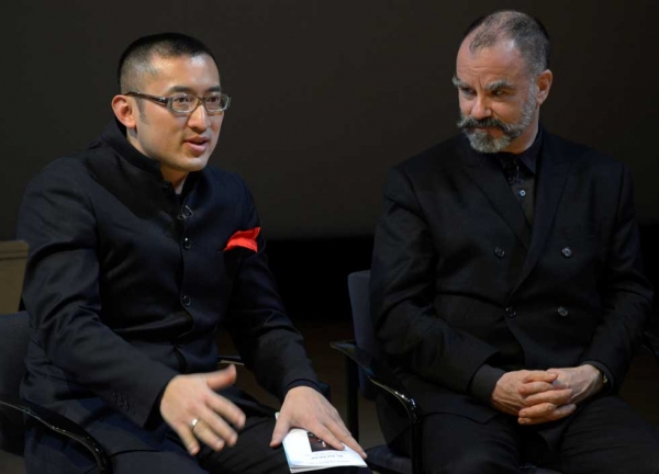 """Dr. Sun Yat-sen"" composer Huang Ruo (L) and choreographer Sean Curran (R) at Asia Society New York on Dec. 2, 2013. (Elsa Ruiz/Asia Society)"