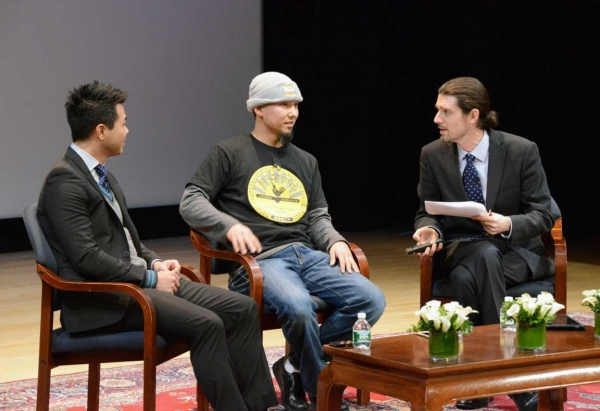 L to R: Kenshiro Uki , Keizo Shimamoto and Michael McAteer onstage at Asia Society New York on December 18, 2013. (Kenji Takigami/Asia Society)