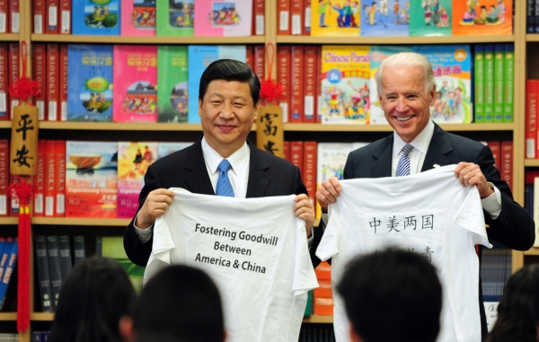 International Studies Learning Center students presented Chinese Vice President Xi Jinping and American Vice President Joe Biden with gifts. (Frederic J. Brown/AFP/Getty Images)