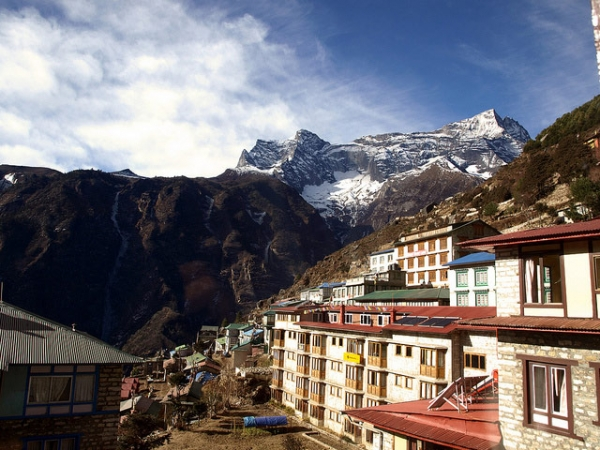 Himalayan peaks tower over a Mt. Everest base camp at Sagarmatha National Park, Nepal on January 13, 2014.
