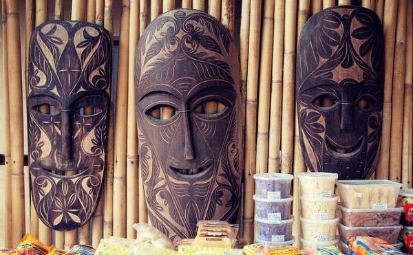 Ornately carved masks decorate a restaurant in Cavite, Philippines on December 26, 2013. (Roberto Verzo/ Flickr)