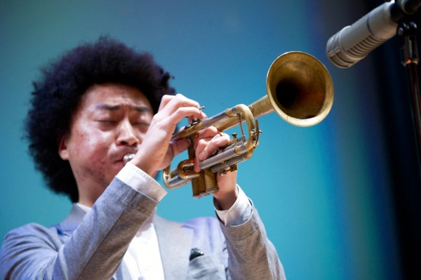 Japanese-born, Brooklyn-based jazz trumpeter and composer Takuya Kuroda brought his ensemble to Asia Society New York on March 8, 2014. (Elena Olivo/Asia Society)