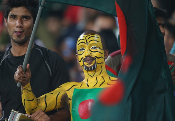A Bangladesh fan shows his support during the ICC World Twenty20 cricket match between Bangladesh and the West Indies in Dhaka, Bangladesh on March 25, 2014. (Scott Barbour/Getty Images)