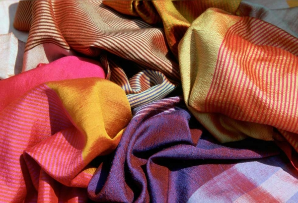 "Woven ""wind scarves"" by Carol Cassidy. (Lao Textiles)"