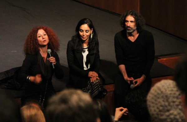 L to R: Lina Saneh, Shirin Neshat, and Rabih Mroué in a post-performance Q & A on April 29, 2014. (Ellen Wallop/Asia Society)