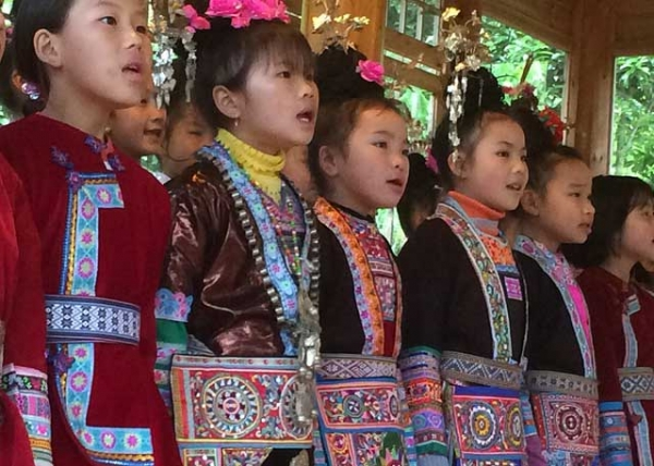 "A children's singing lesson in Dimen. The Dong people's singing is part of a centuries-old vocal tradition that was cited as ""Intangible Cultural Heritage"" by UNESCO in 2009. (Ken Smith)"