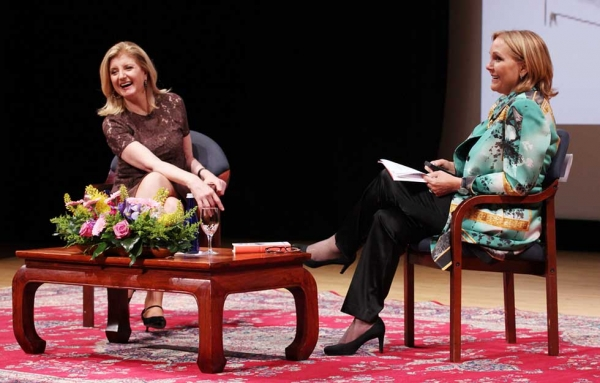 "Huffington's talk was the inaugural ""President's Forum"" event hosted by Asia Society President and CEO Josette Sheeran (R). (Ellen Wallop/Asia Society)"