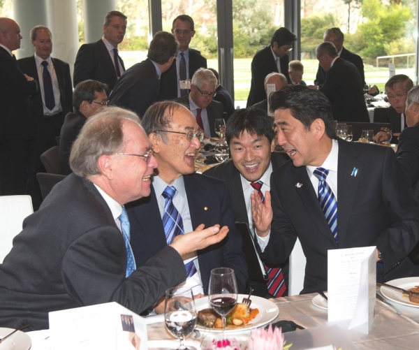 Murray McLean AO, Chairman, Australia Japan Foundation, Dr Akio Mimura AC, Chairman, Japan-Australia Business Co-operation Committee with Prime Minister Shinzo Abe. (Irene Dowdy)