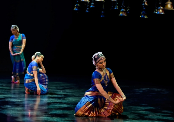 "Ragamala Dance (featuring Aparna Ramaswamy, above right) brings its new work ""Song of the Jasmine"" to Lincoln Center Out of Doors in New York City on Thursday, August 7, 2014. (Alice Gebura)"