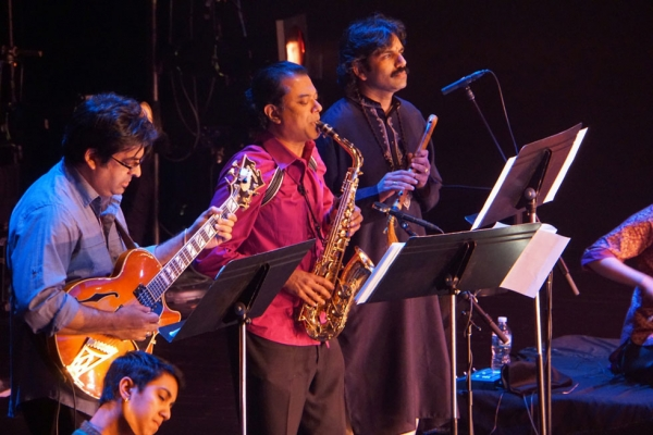 """Song of the Jasmine"" is a collaboration between Ragamala Dance and saxophonist Rudresh Mahanthappa (above, center). (Alice Gebura)"