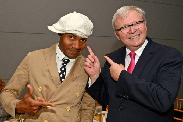 Incoming President of the Asia Society Policy Institute Kevin Rudd (R), former Prime Minister of Australia, and DJ Spooky, aka Paul D. Miller, share a light moment in September 2014 at Asia Society New York. (Elsa Ruiz/Asia Society)