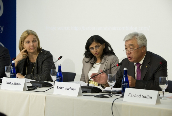 L to R: Asia Society President Josette Sheeran, Assistant Secretary of State for South and Central Asian Affairs Nisha Biswal, and Foreign Minister of Kazakhstan Erlan Idrissov at Asia Society New York on September 23, 2014.