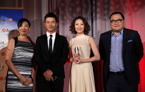 L to R: film producer/entertainment media consultant Janet Yang; actor Huang Xiaoming; actress Sarah Li; and Bruno Wu, chairman and CEO of Seven Stars Entertainment and Media, at the 2014 Asia Society U.S.-China Film Summit and Gala,  held at the Millennium Biltmore Hotel in Los Angeles on Nov. 5, 2014. (Ryan Miller/Capture Imaging)