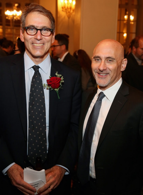 Asia Society Southern California Executive Director Jonathan Karp (L) and Studio 8 founder and CEO Jeff Robinov (R) pose during the 2014 Asia Society U.S.-China Film Summit and Gala held at the Millennium Biltmore Hotel on Nov. 5, 2014, in Los Angeles. (Ryan Miller/Capture Imaging