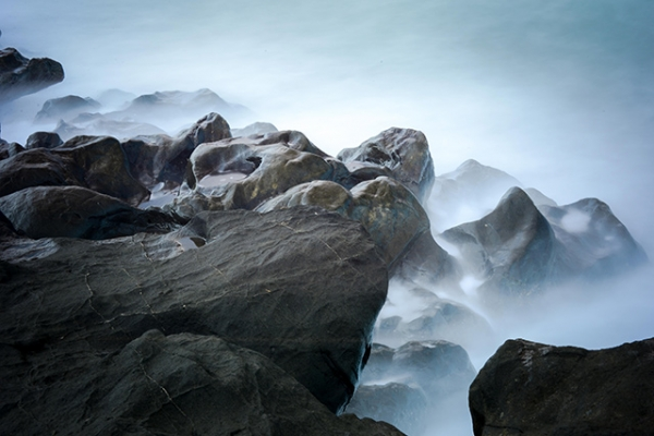 A heavy mist rolls over the cold beauty of rock formations in  San Joaquin, Iloilo, Philippines on January 2, 2014. (Eduardo S. Seastres)