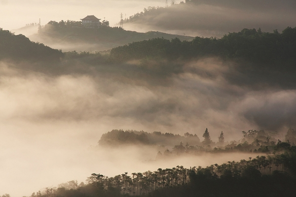 Morning mist seeps between the trees and hills of Shuishalian in Taiwan on May 17, 2014. (Mark Kao/flickr)