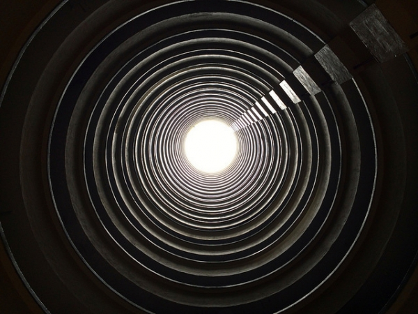 A view from the bottom of a cylindrical building in Lai Tak Tsuen, one of the first public housing estates in Hong Kong on May 1, 2014. (yukikei/Flickr)