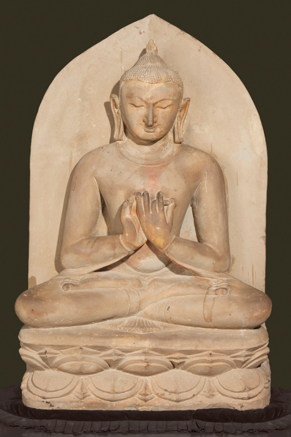 Buddha seated in dharmacakra mudra; Pagan period, 11th century; Sandstone; H. 42 x W. 27 x D. 10 in. (106.7 x 68.6 x 25.4 cm)l Bagan Archaeological Museum (Sean Dungan)