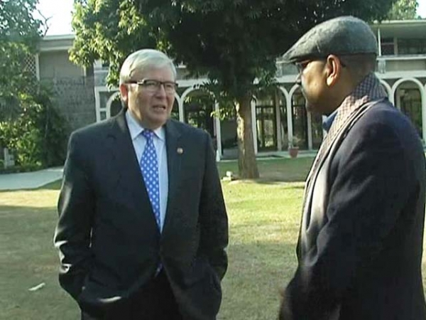 "ASPI President Kevin Rudd and ""Walk the Talk"" host Shekhar Gupta in an NDTV interview published on February 13, 2015."