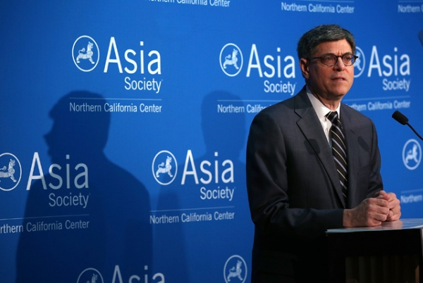 U.S. Secretary of Treasury Jacob Lew speaks at Asia Society Northern California on March 31, 2015 in San Francisco, California. (Justin Sullivan/Getty Images)