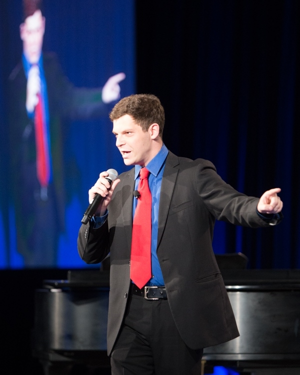 Comedian Jesse Appell served as MC for the opening dinner and plenary on Thursday, April 16 (Ben Kornegay/ProgressiveImagesPhoto).