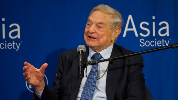 George Soros speaking at Asia Society in New York on April 30, 2015. (Elena Olivo/Asia Society)