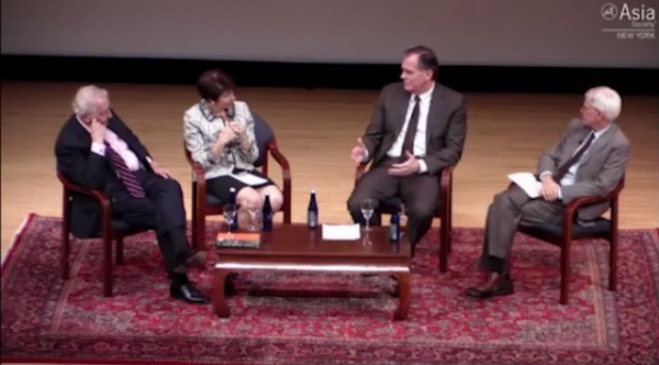 Andrew G. Walder, Roderick MacFarquhar, Susan Shirk, and Orville Schell at a May 22 Asia Society panel (Asia Society)