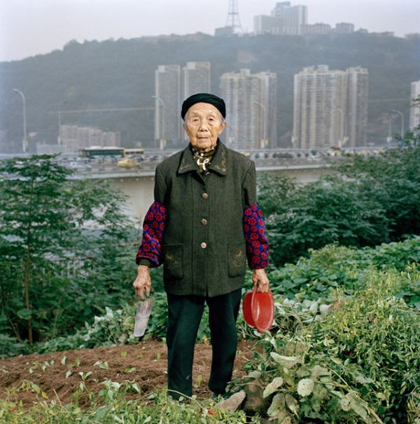 Zhong Baixin, eighty-seven, is cultivating a square meter of lettuce for her own table. She has lived all her life in Chongqing and now lives in what remains of a farming village stuck between a construction site and a road. (Tim Franco)