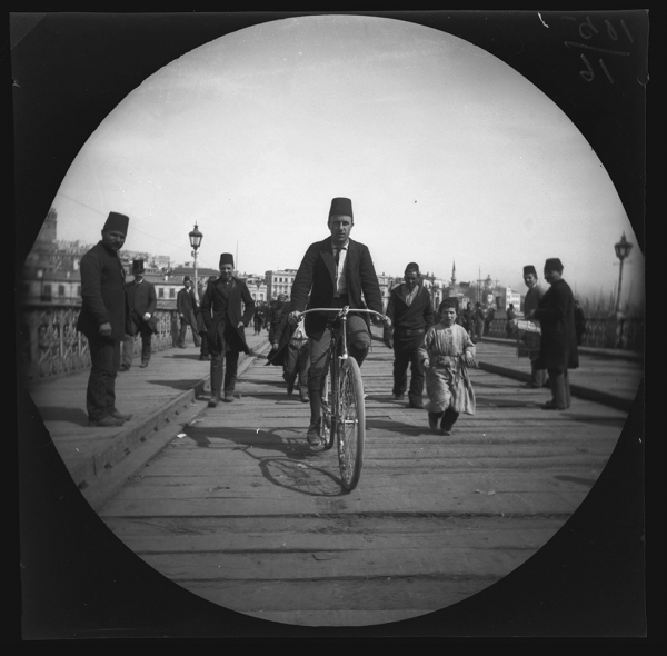 "(from original negative envelope) ""Crossing the bridge from Pera to Stamboul,"" March 21, 1891, Collection of the UCLA Library Special Collections"