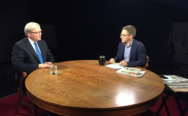 Asia Society Policy Institute President Kevin Rudd speaks with guest host Ian Bremmer on Charlie Rose, July 10, 2015. (Jinq Qian/Asia Society)