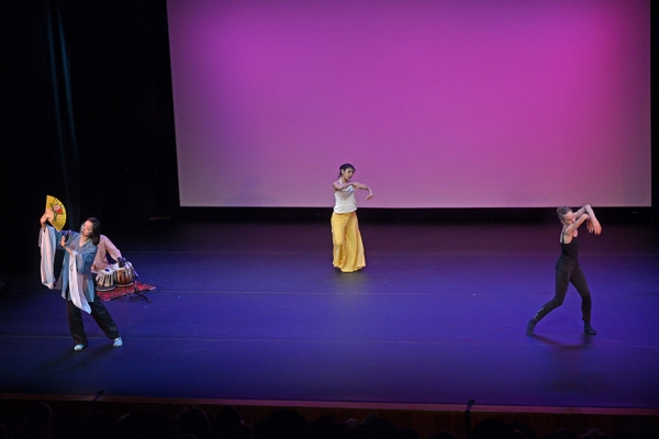 Performers Qian Yi, Chinese kunqu opera star; Parul Shah, celebrated performer of India's kathak dance; and Wendy Whelan, former principal dancer with the New York City Ballet share the stage at Asia Society New York on June 24, 2015.  (Elsa M. Ruiz)