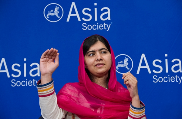 Malala Yousafzai appeared at Asia Society on Saturday to discuss her upcoming documentary, He Named Me Malala (Elena Olivo/Asia Society)