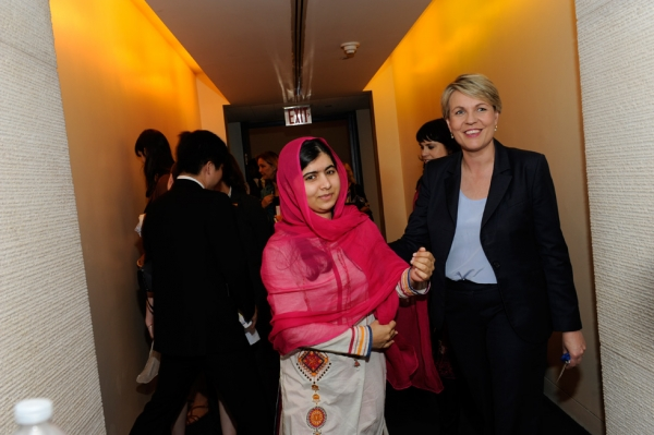 Malala Yousafzai with Tanya Pilbersek, Shadow Minister for Foreign Affairs and International Development of Australia. (Elena Olivo/Asia Society)