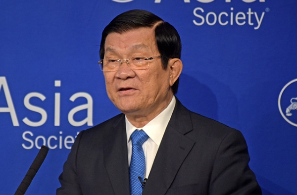 Vietnamese President Truong Tan Sang speaks at Asia Society New York on September 28. (Elsa Ruiz/Asia Society)