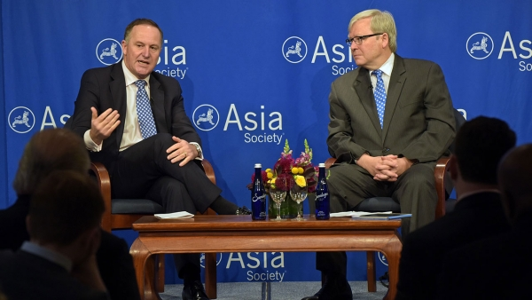 New Zealand Prime Minister John Key discusses China's economic transformation and the country's changing posture toward the TPP during a conversation with ASPI President Kevin Rudd. (Elsa Ruiz/Asia Society)