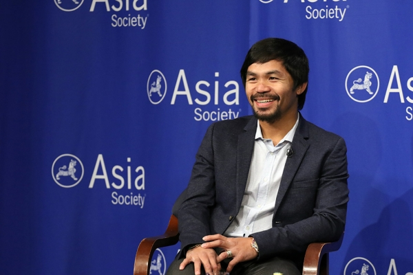 Manny Pacquiao talks to the press at Asia Society in New York on the eve of accepting Asia Society's Asia Game Changer of the Year award on Monday, October 12, 2015. (Ellen Wallop/Asia Society)