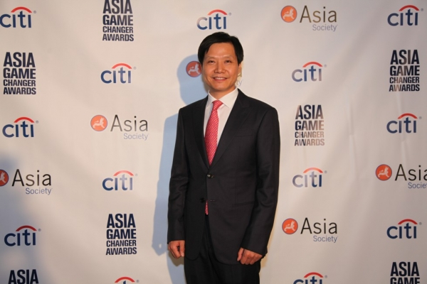 Xiaomi Founder and Asia Game Changer awardee Lei Jun poses at the Asia Game Changers ceremony on October 13, 2015. (Ellen Wallop/Asia Society)