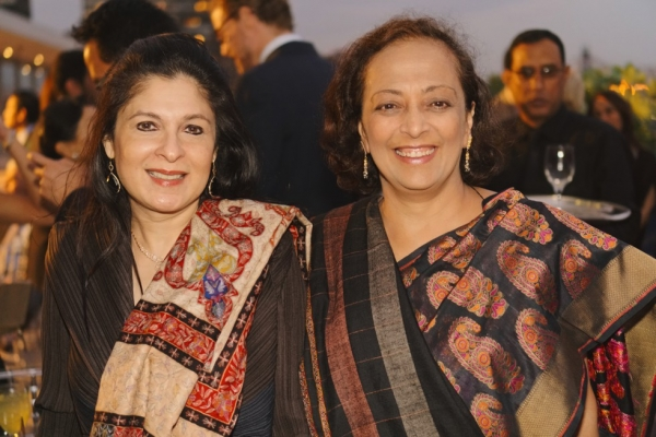 Anuradha Mahindra (L) and Bunty Chand at the 2015 Asia Game Changers award ceremony on October 13, 2015. (Jamie Watts/Asia Society)