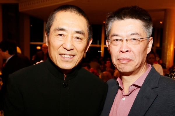 From left, Zhang Yimou, director, receives the Lifetime Achievement Award and Zhang Zhao, CEO, Le Vision Pictures receives the U.S.-China Film Industry Leadership Award during the 2015 Asia Society U.S.-China Film Summit and Gala held at the Dorthy Chandler Pavilion on Thursday, November 5, 2015, in Los Angeles, Calif. (Ryan Miller/Capture Imaging)