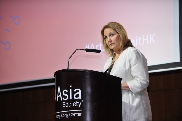 Asia Society President Josette Sheeran gives opening remarks at the 2015 Asia Society Arts & Museum Summit at Asia Society Hong Kong Center. (Elvis Ho)